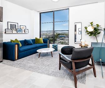 tiled living room with natural light and refrigerator, Sentral Wynwood