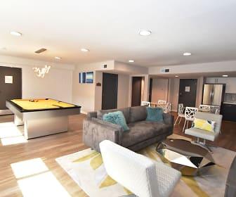 living room with hardwood floors and stainless steel refrigerator, Lassen Village