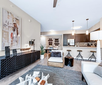 living room with stainless steel refrigerator, Legacy Gateway