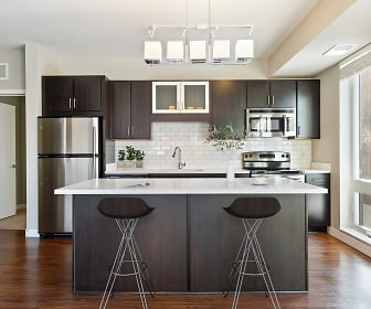 Double Dipped Espresso Cabinetry with Glass Accents, Quartz Counter-tops & Glass Backsplash, Red 20 Apartments