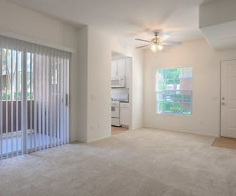 Carpeted Living Room with Balcony, Ridgewood Village