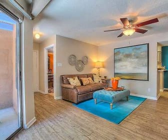 living room with a ceiling fan and hardwood flooring, Vizcaya