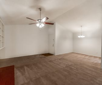living room with a ceiling fan, carpet, and a fireplace, Summerlin at Concord