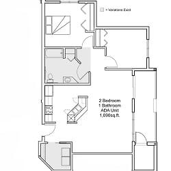 2 bedroom 1 bathroom ADA floor plan