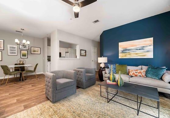 living room featuring hardwood flooring, Walden Pond