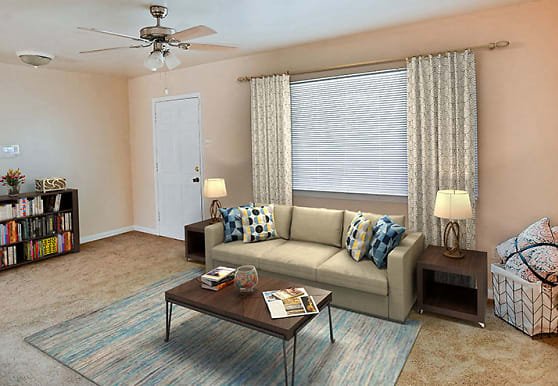 carpeted living room with a ceiling fan, Acadian and South College Gardens