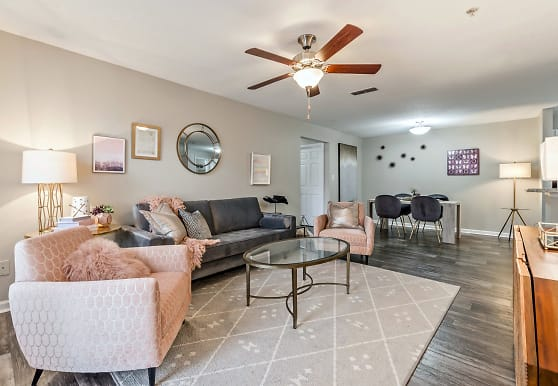 hardwood floored living room with a ceiling fan, Azalea Ridge