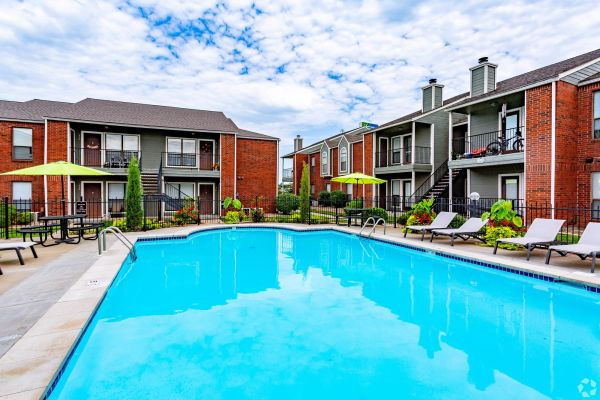 Sparkling swimming pool at Crown Colony Apartments in West Topeka, KS