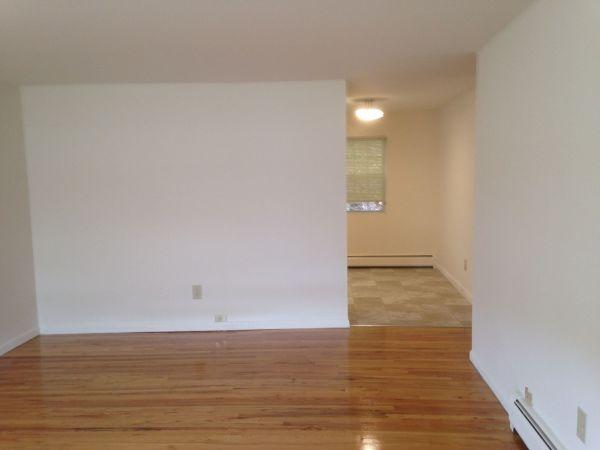 hardwood floored empty room with baseboard radiator