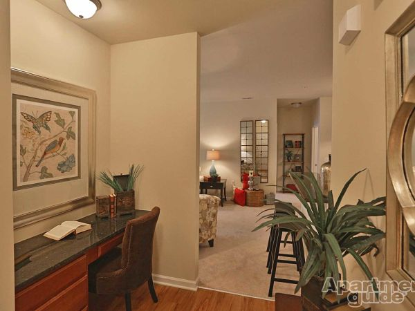 Foyer with built-in desk